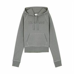 Helmut Lang Grey Logo-embroidered Cotton Sweatshirt