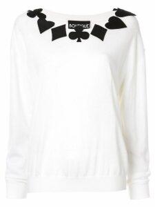 Boutique Moschino poker applique jumper - White