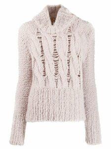Gentry Portofino distressed knit turtleneck jumper - Neutrals