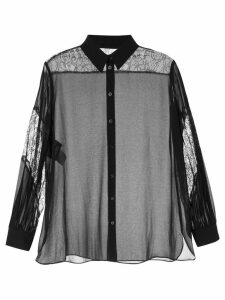 Boutique Moschino sheer lace detail shirt - Black