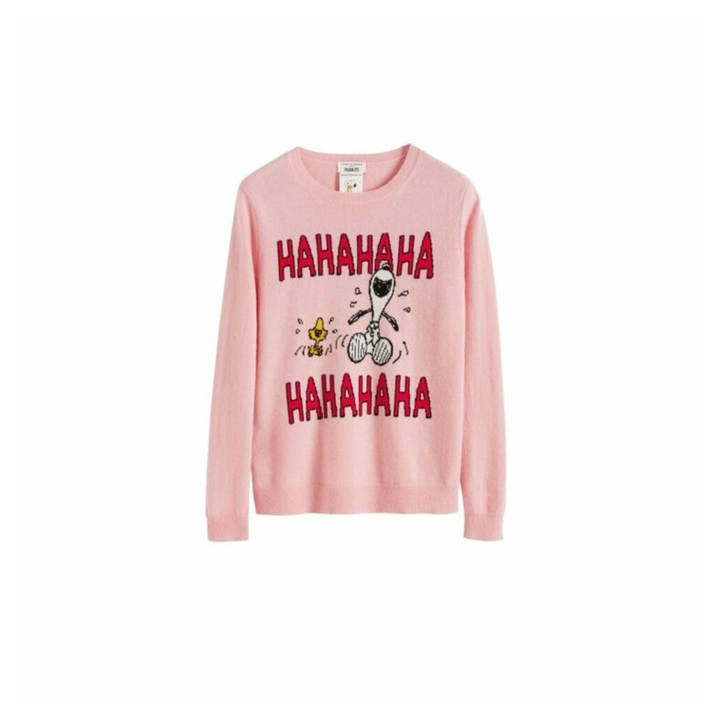 Chinti & Parker Pink Laughing Snoopy Cashmere-wool Sweater