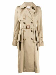 Alexander McQueen ruffled trench coat - Brown
