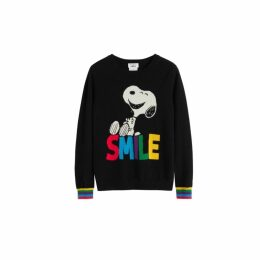 Chinti & Parker Black Snoopy Smile Cashmere Sweater