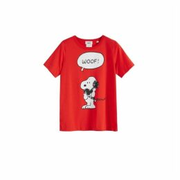 Chinti & Parker Red Snoopy Woof Cotton T-shirt