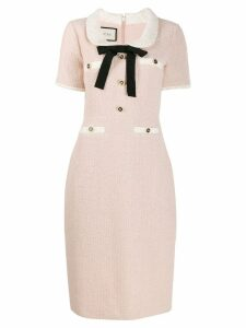 Gucci ribbon detailed tweed dress - Pink
