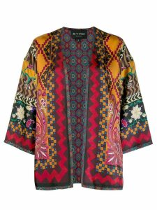 Etro all-over print cape - Red