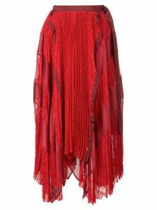 Sacai chiffon checked skirt - Red