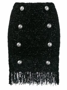Balmain fringed tweed skirt - Black