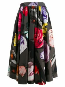 Prada floral print pleated skirt - Grey