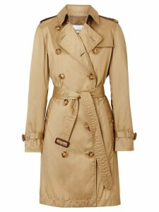 Burberry Detachable Hood Technical Nylon Trench Coat - Brown