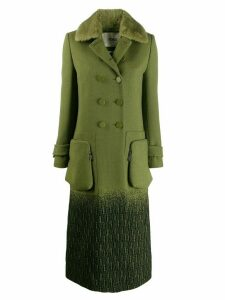 Fendi straight-cut double buttoned coat - Green