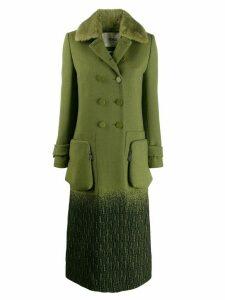 Fendi straight-cut double buttoned coat - Green