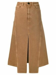 LANVIN slit midi denim skirt - Brown