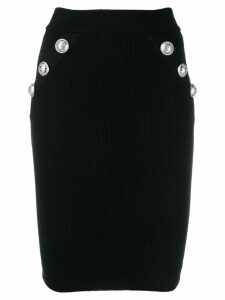 Balmain ribbed knit fitted skirt - Black