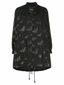 Emporio Armani oversized all-over logo coat - Black