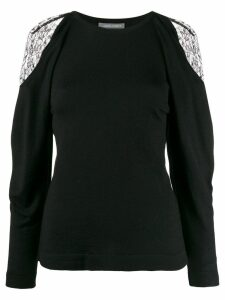 Alberta Ferretti lace-detail sweater - Black