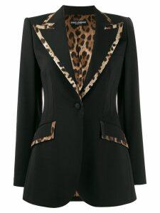Dolce & Gabbana leopard print trim fitted blazer - Black