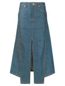 LANVIN slit midi denim skirt - Blue