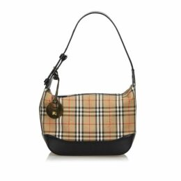 Burberry Brown Haymarket Check Canvas Shoulder Bag