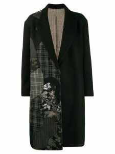 Antonio Marras asymmetric print midi coat - Black