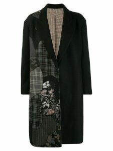 Antonio Marras asymmetric print midi coat - Black