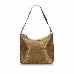 Gucci Gold Metallic Gg Canvas Shoulder Bag