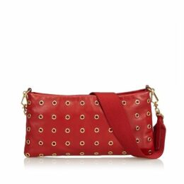 Prada Red Leather Eyelet Baguette