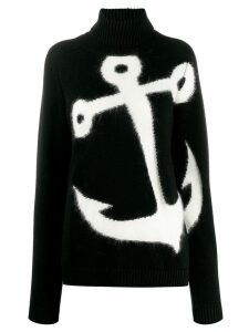 Nº21 anchor roll neck sweater - Black