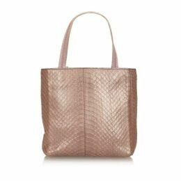 Prada Pink Python Leather Tote Bag