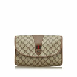 Gucci Brown Gg Web Clutch Bag