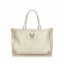 Gucci White Leather Abbey D-ring Tote