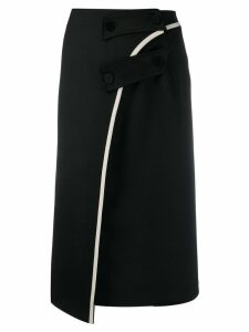 Ssheena asymmetrical midi skirt - Black