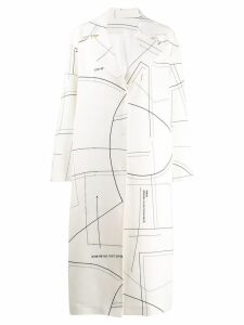 Ruban patterned midi coat - White