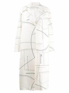 Ruban patterned midi coat - White