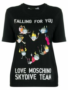 Love Moschino skydive printed t-shirt - Black