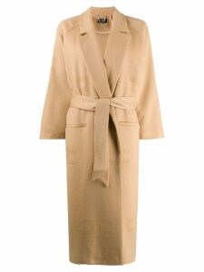 Elisabetta Franchi logo pattern trench coat - Neutrals