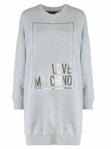 Love Moschino printed logo sweater-dress - Grey