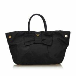 Prada Black Nylon Fiocco Bow Tote Bag