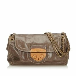 Prada Gray Leather Pattina Crossbody Bag