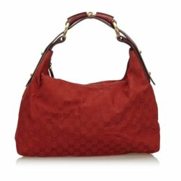 Gucci Red Gg Canvas Horsebit Hobo Bag