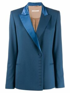 Ssheena satin lapel wool blazer - Blue