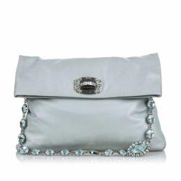 Miu Miu Gray Leather Crystal Shoulder Bag