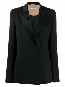 Ssheena satin lapel wool blazer - Black