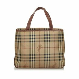 Burberry Brown Haymarket Check Coated Canvas Tote Bag