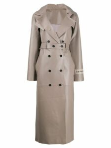 Ruban leather double breasted coat - Grey