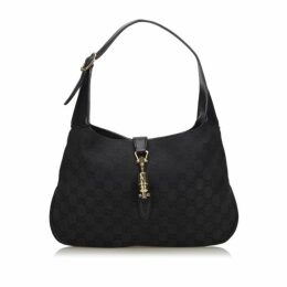 Gucci Black Gg Canvas New Jackie Shoulder Bag