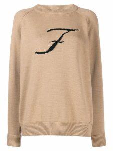 Fay knit logo print jumper - Neutrals