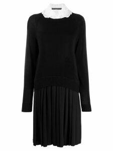 Ermanno Scervino lace collar sweater dress - Black
