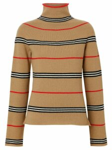 Burberry Icon Stripe Cashmere Turtleneck Sweater - Brown