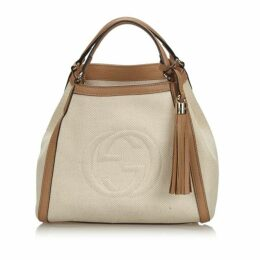 Gucci White Soho Canvas Shoulder Bag
